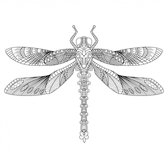 Hand drawn of dragonfly in zentangle style