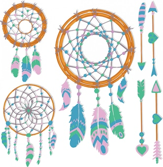 Hand drawn dream catcher elements