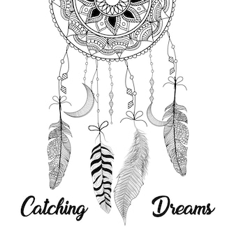 Hand drawn dream catcher feathers