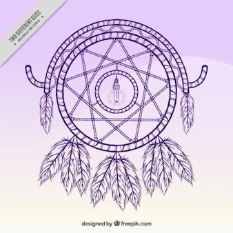 Disegnata a mano collettore di sogno su uno sfondo viola