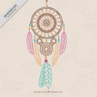 Hand drawn dream catcher with colored feathers background