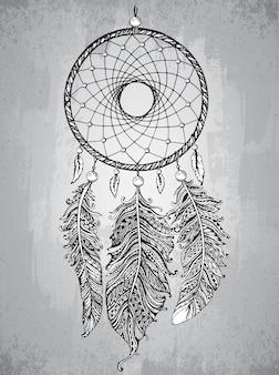 Zentangleスタイルの羽を持つ手描きドリームキャッチャー。