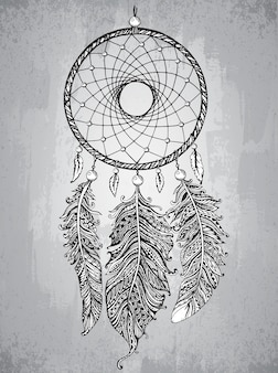 Hand drawn dream catcher with feathers in zentangle style.