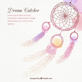 Hand Drawn Dreamcatcher Background In Watercolor Effect