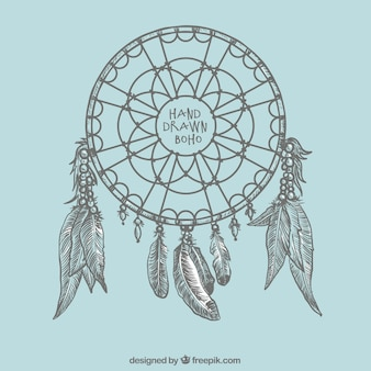 Hand-drawn dreamcatcher background