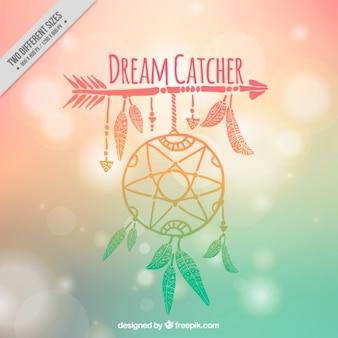 Hand drawn dreamcatcher on a blurred background