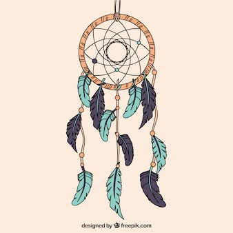 Hand drawn dreamcatcher with green and grey feathers