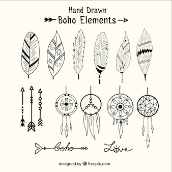 Hand drawn dreamcatchers and ethnic elements