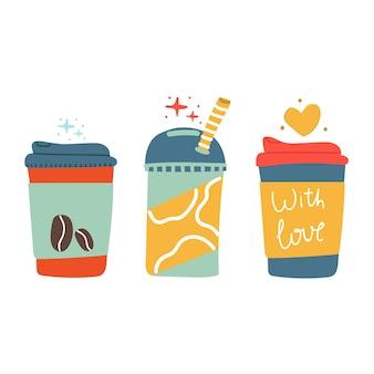コーヒーティースムージーフラットモダンイラストの手描きドリンク飲料セット