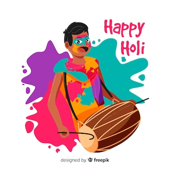 Hand drawn drummer holi festival background