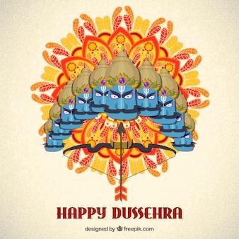 Hand drawn dussehra celebration composition