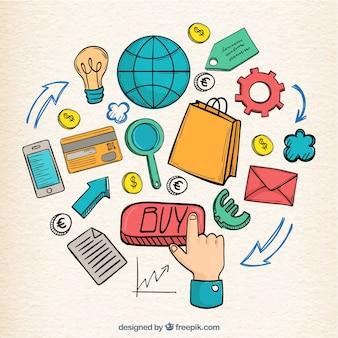 Composizione di elementi di e-commerce disegnati a mano