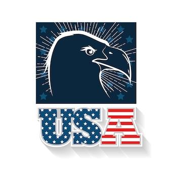 손으로 그린 독수리와 미국 국기와 함께 서명