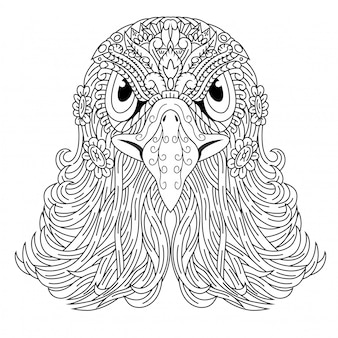 Hand drawn of eagle head in zentangle style