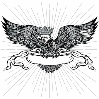 Hand drawn eagle logo with ribbon