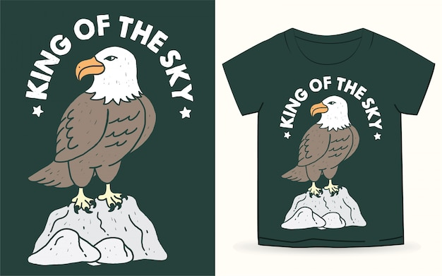 Hand drawn eagle with typography for t shirt