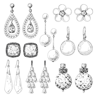 Hand drawn earrings set in a sketch style.  illustration.