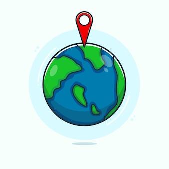 手描きの地球と現在地アイコンイラスト