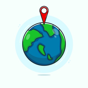 Hand drawn earth and current location icon illustration