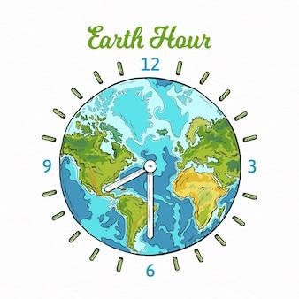 Нарисованная от руки иллюстрация часа земли с планетой и часами