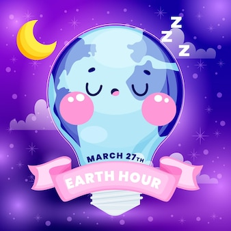 행성 및 전구 손으로 그린 지구 시간 그림