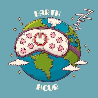 행성과 수면 마스크와 손으로 그린 지구 시간 그림