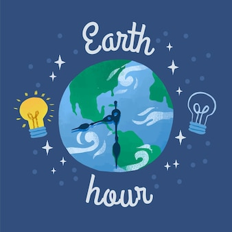 Hand-drawn earth hour illustration with planet and clock