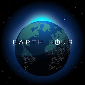 Hand-drawn earth hour illustration with planet earth