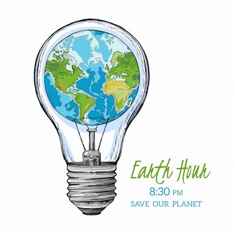 Hand-drawn earth hour illustration with planet and lightbulb