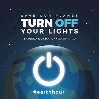 Hand-drawn earth hour illustration with planet and shut down button