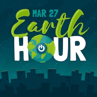 Hand-drawn earth hour illustration with planet and turn off button