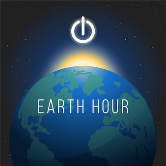 Hand-drawn earth hour illustration with planet
