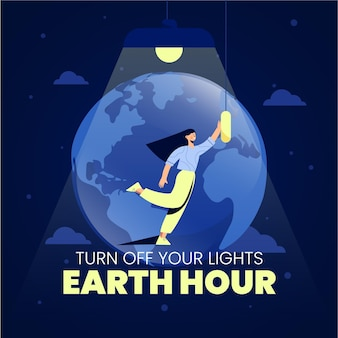Hand-drawn earth hour illustration with woman and planet