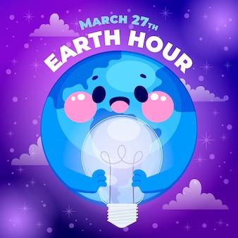Нарисованная рукой иллюстрация часа земли
