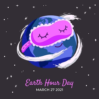 Hand drawn earth hour sleeping planet