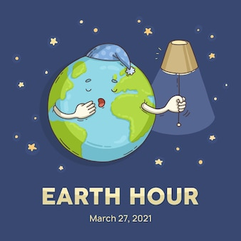 Hand drawn earth hour sleepy planet