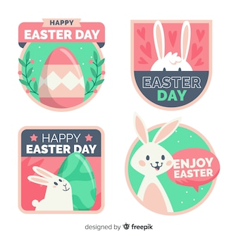 Hand drawn easter badge collection