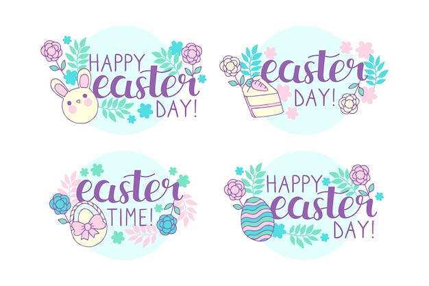 Hand drawn easter badge lettering collection