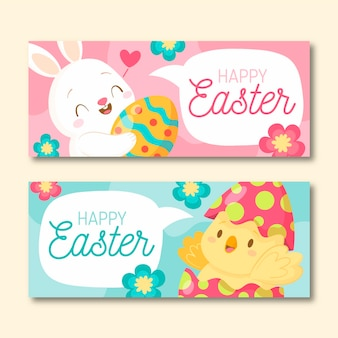 Hand drawn easter banners set