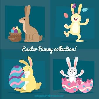 Коллекция рисованной пасхальной кролики