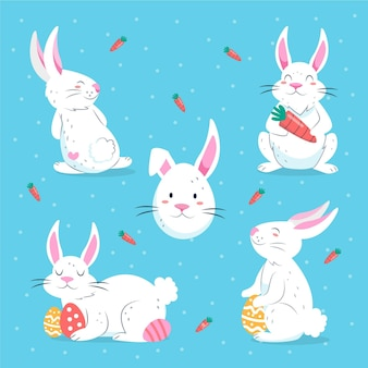 손으로 그린 부활절 토끼 컬렉션