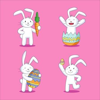Collezione di coniglietto di pasqua disegnata a mano