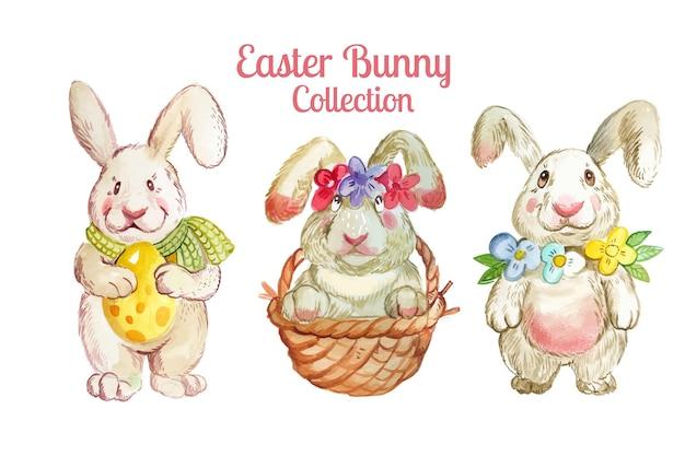 Коллекция рисованной пасхальных кроликов