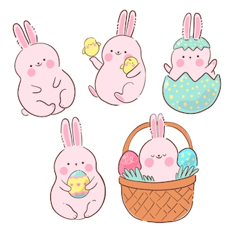 Hand drawn easter bunny collection