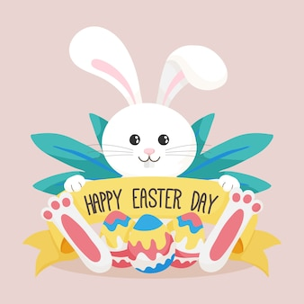 Hand drawn easter bunny with eggs illustrated