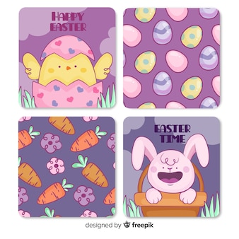 Hand drawn easter cards collection