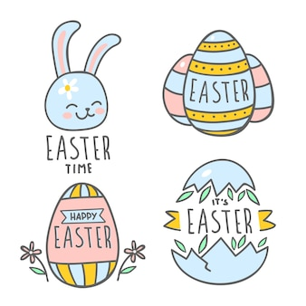Hand-drawn easter day badge collection