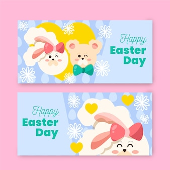 Hand drawn easter day banner collection