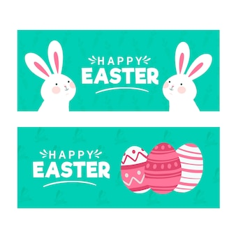 Hand-drawn easter day banner collection