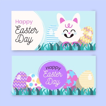Hand drawn easter day banner set